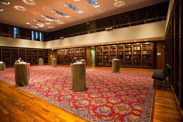 Dorchester Library with original books in casing set for a drinks reception Royal College of Physicians Venue Hire NW1