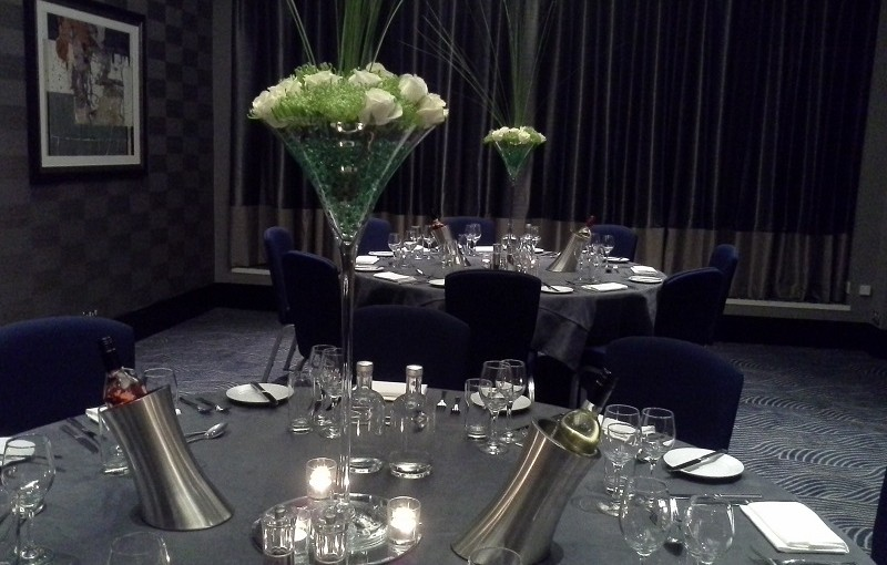 DoubleTree Hilton Victoria Christmas Party SW1, seated dinner, banqueting style, centre pieces