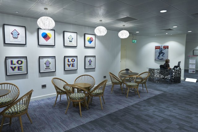 Foyer with stylish wicker chairs by reception desk 8 Eastcheap Venue Hire EC3