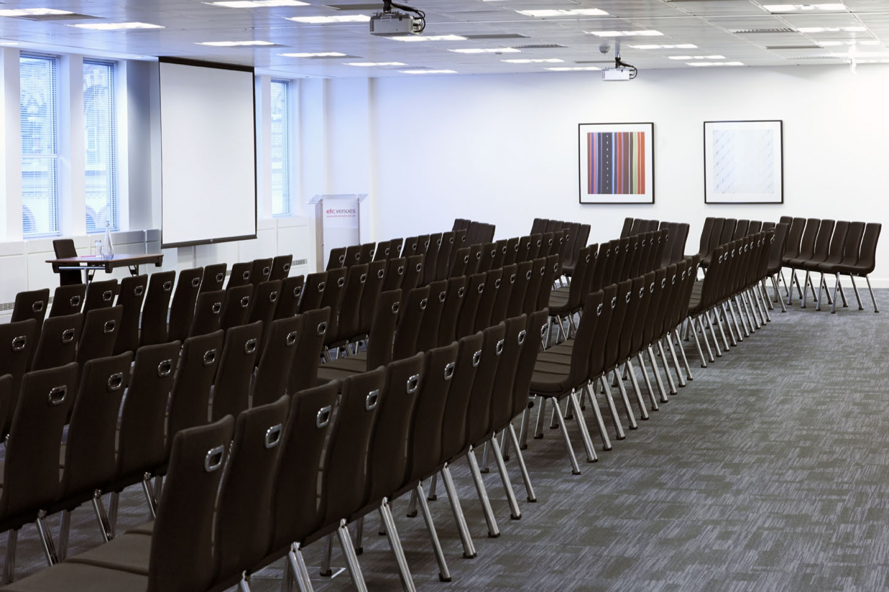 Meeting room in theatre style with presentation facilities for a conference 8 Eastcheap Venue Hire EC3