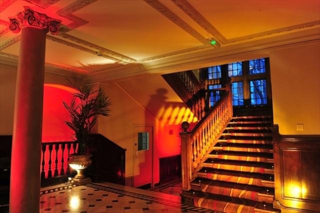 Edwardian Rooms Venue Hire, venue entrance, lit for an evening event