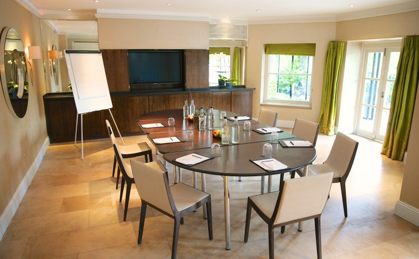 iew of Garden 1 set up for a small conference with flipchart and access to terrace Bingham Hotel Venue Hire TW10