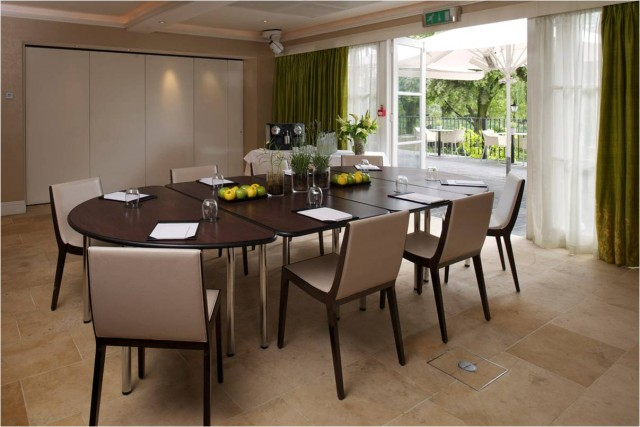 iew of Garden 3 set up for a small conference with wall partition and access to terrace Bingham Hotel Venue Hire TW10