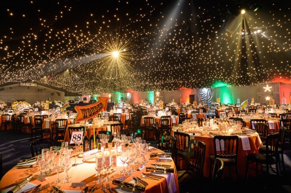 Boogie Wonder Shared Christmas Party EC2 seated dinner, theming, lighting, round tables