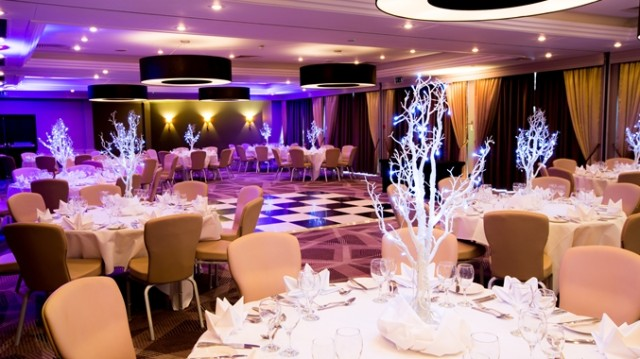 DoubleTree Hilton Ealing Christmas Party W5, seated dinner, festive set up, dancefloor in the centre of the room