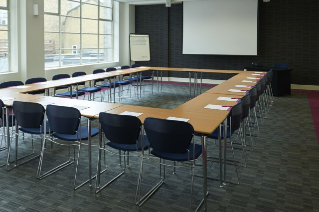 Metting Room in U-shape style set for a conference with presentation facilities The Hatton Venue Hire EC1