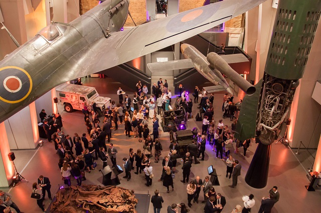 IWM Summer Party London SE1. Inside venue of a standing reception taking place.