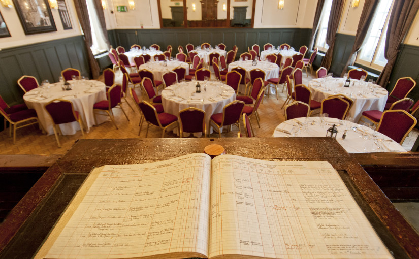 Judges Court Rooms with view from the original court room book and round tables set out for a formal dinner Browns Covent Garden Venue Hire WC2