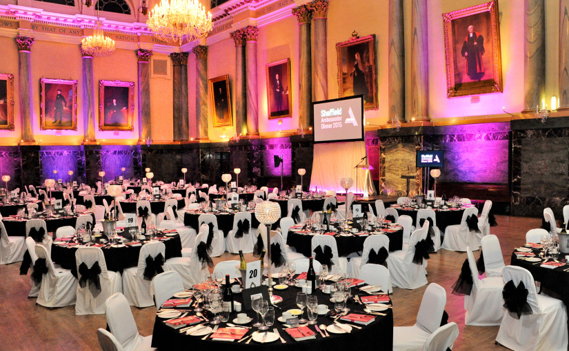 Cutler's Hall Sheffield Christmas Party S1,seated dinner, large screens, colour wash, uplighting