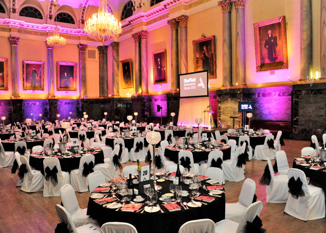 Cutlers Hall Venue Hire S1, venue hire main hall, seated dinner