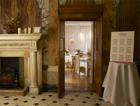 Marble Hall set for a drinks reception with views of the Gallery set for dinner One Birdcage Walk Christmas Party SW1