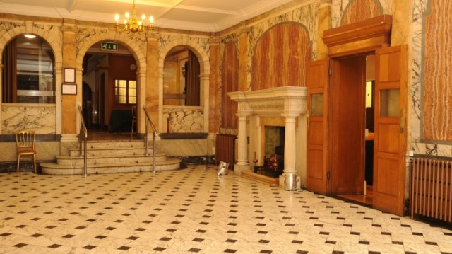 Marble Hall with grand open marble fireplace and sets up to the library room One Birdcage Walk Venue Hire SW1
