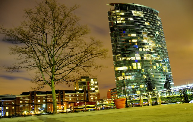 Marriott West India Quay Venue Hire E14. exterior of hotel in evening.