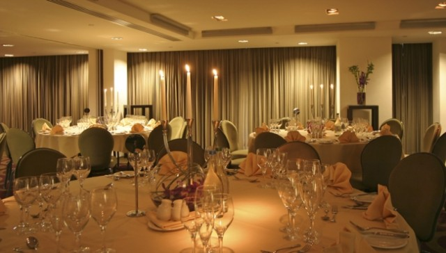 Park Plaza Leeds Venue Hire LS1, banqueting, seated dinner, round tables, centre pieces