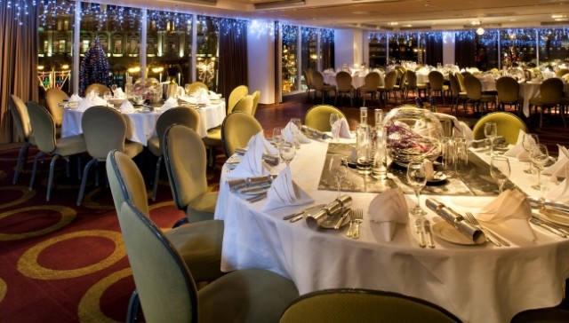 Park Plaza Leeds Christmas Party LS1, round tables, seated dinner, lighting, fairy lights