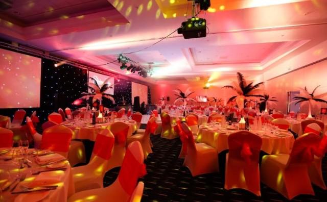 Park Inn Heathrow Christmas Party UB7, seated dinner, festive novelties, lighting