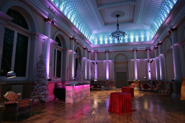 Shoreditch Town Hall Christmas Party EC1. Venues space lit up for Christmas party