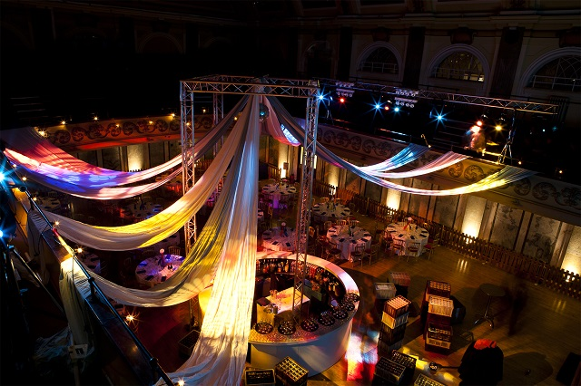 Shoreditch Town Hall Christmas Party EC1. Venue set up for christmas event with festive lighting and party feel.