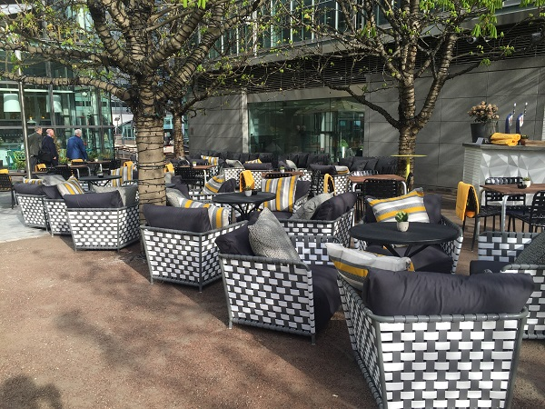 Parlour Christmas Party E14 outside space and blankets for guests to snuggle in with the festive outside bar for mulled wine