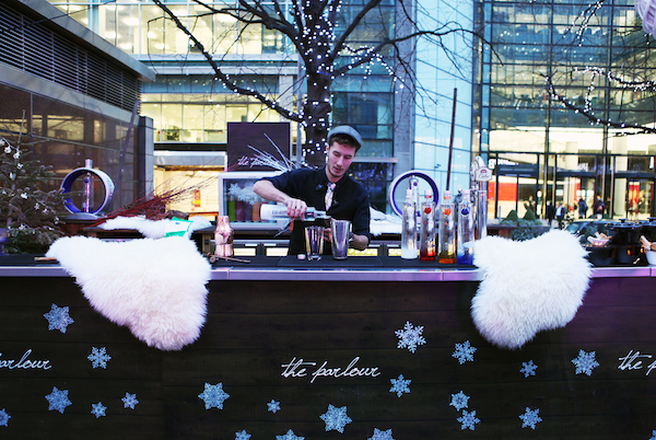 Parlour Christmas Party E14. Pop up bar of The Parlour, outdoors with blankets for guests to wrap out while they enjoy their mulled wine.