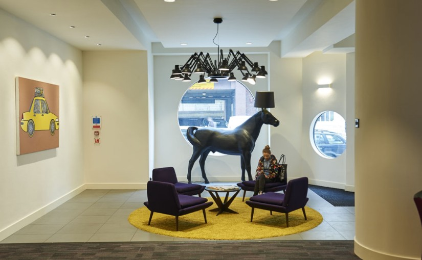 Reception featuring a horse ornament and stylish sofas The Hatton Venue Hire EC1