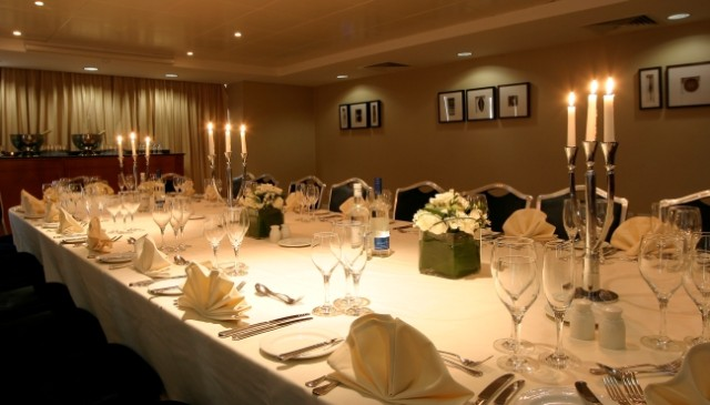 Park Plaza Nottingham Venue Hire NG1, private dining space, banqueting style,, seated dinner, candelabras