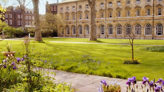 College Garden with view of the venue and the lawn with pathway around the venue Westminster Abbey Summer Party SW1