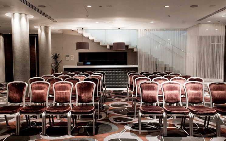 Trafalgar Hotel London Venue Hire SW1, conference set up with velvet chairs