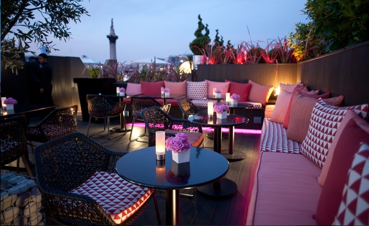 Trafalgar Hotel London Venue Hire SW1, roof top terrace with pink furnishing