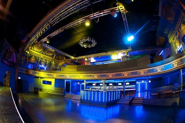 Electric Brixton Christmas Party SW2. dj booth with lighting and large space.