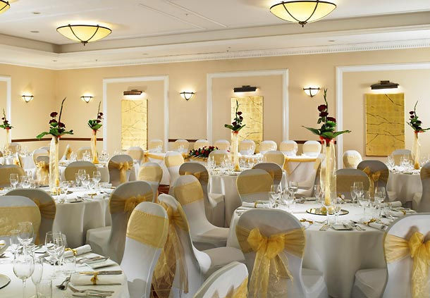 Huntingdon Marriott Hotel Christmas Party PE29, seated dinner, stunning centre pieces, round tables, chair covers