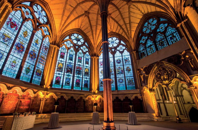 Chapter House with grand archways and windows set for a drinks reception Westminster Abbey Venue Hire SW1