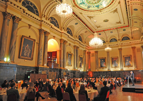 Cutler's Hall Sheffield Christmas Party S1, seated dinner, speech, stunning interior