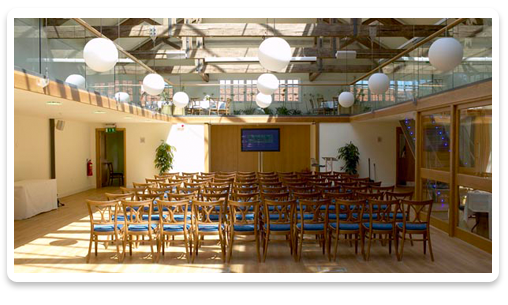 Hatfield House Venue Hire AL9, theatre style seating, screen, natural daylight, balcony