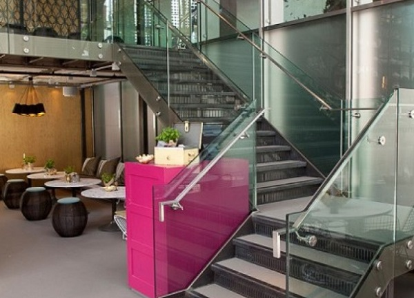 Drift Bar Venue Hire EC2. Drifts staircase with glass panels, leading up to private dining area.