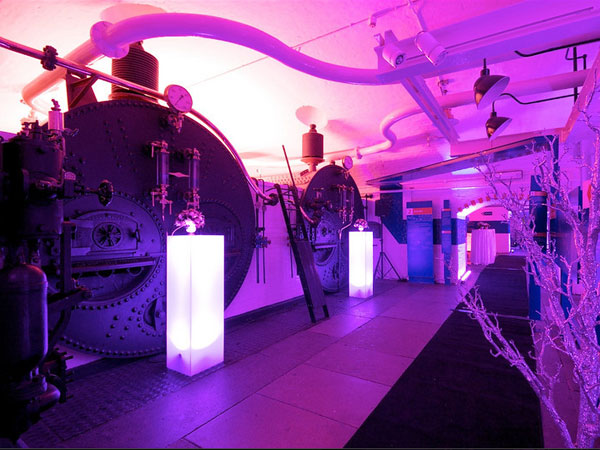 Tower Bridge Engine Rooms Christmas venue SE1, standing reception, Christmas theming