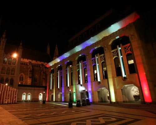 Guildhall Christmas Party EC2, , stunning exterior, lighting