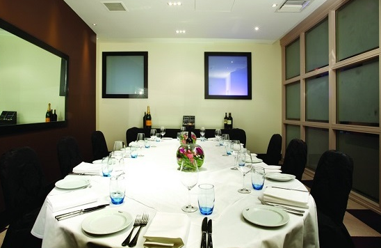 Malmaison Hotel Glasgow Christmas Party G2, private white table with cutlery