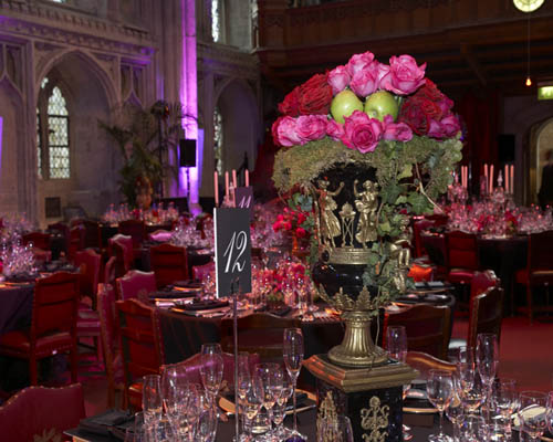 Guildhall Christmas Party EC2, seated dinner, centre pieces