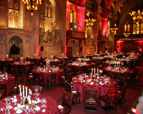 Guildhall Christmas Party EC2, seated dinner, high ceilings, candelabras
