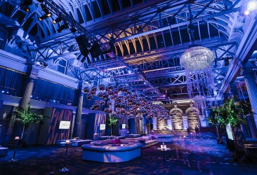 Old Billingsgate Shared Christmas Party EC1, stunning theming, lighting and bar, seating area, reception drinks