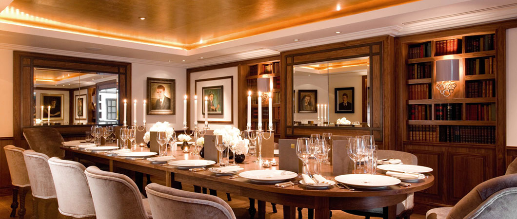 St James Hotel London Christmas Party SW1, private dining table with candles