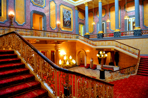 Lancaster House Christmas Party, staircase, reception drinks area, columns