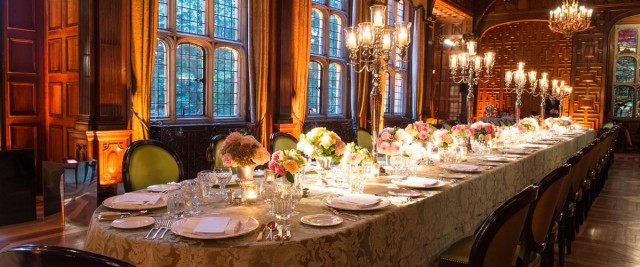 Two Temple Place Summer Party WC2, boardroom style, candelabras, large windows, seated dinner, bright colour centre pieces