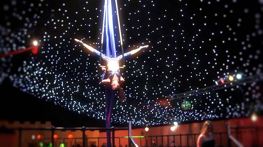Moonlit in Marrakech Newcastle Christmas Party NE3, aerial entertainment, spacious venue, night themed sky.