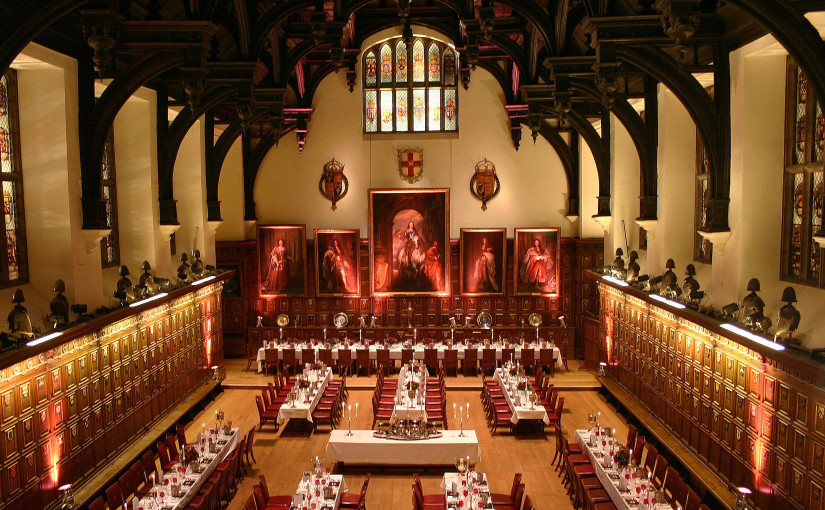 Middle Temple Christmas Party EC4, seated dinner, high ceilings, stunning interior,