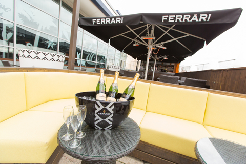 Rocket Nottingham Venue Hire NG1,terrace with yellow sofas and champagne