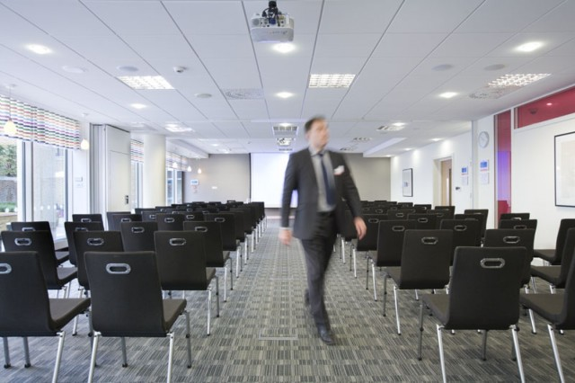 Meeting Room set in theatre style with presentation facilities and natural daylight for a conference One Drummond Gate Venue Hire SW1