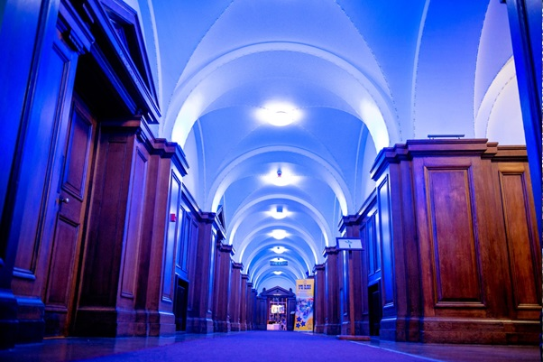 River Rooms with bright up lighters against the wall accentuating the high arched ceilings Venue Hire SE1