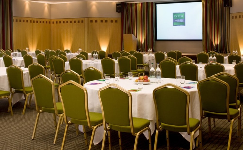Staverton Park Venue Hire NN1, cabaret set up in a meeting room with green chairs